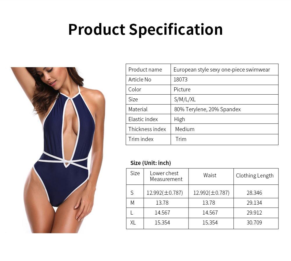 Quick Dry Terylene One-piece Backless Women Sexy Bikini, European Style Swimsuit Navy Competitive Sport Beachwear Bathing Suit 6