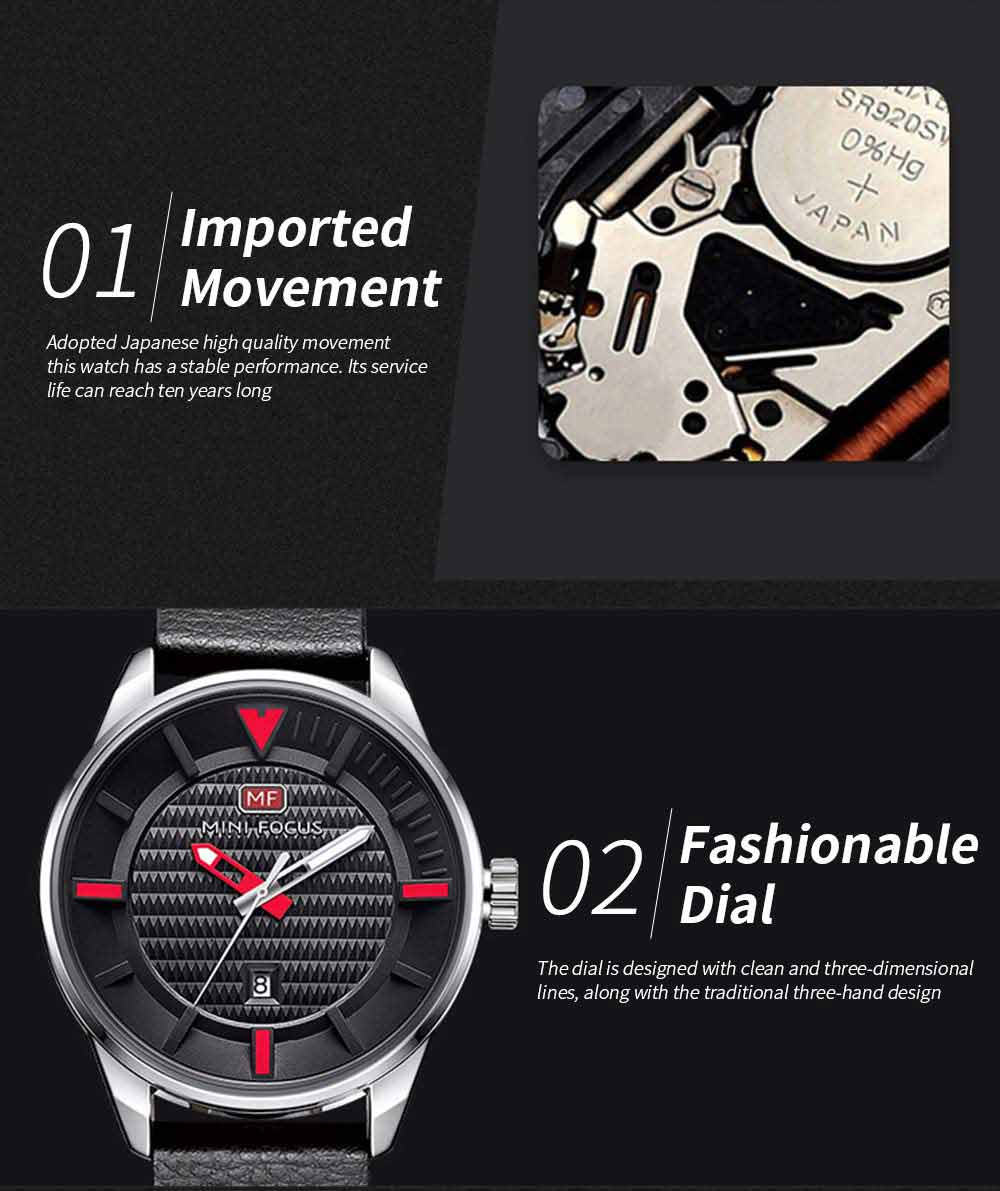 MINI FOCUS Men's Watch with Japanese Movement, High Quality Quartz Watch with Leather Strap Waterproof 30M 1