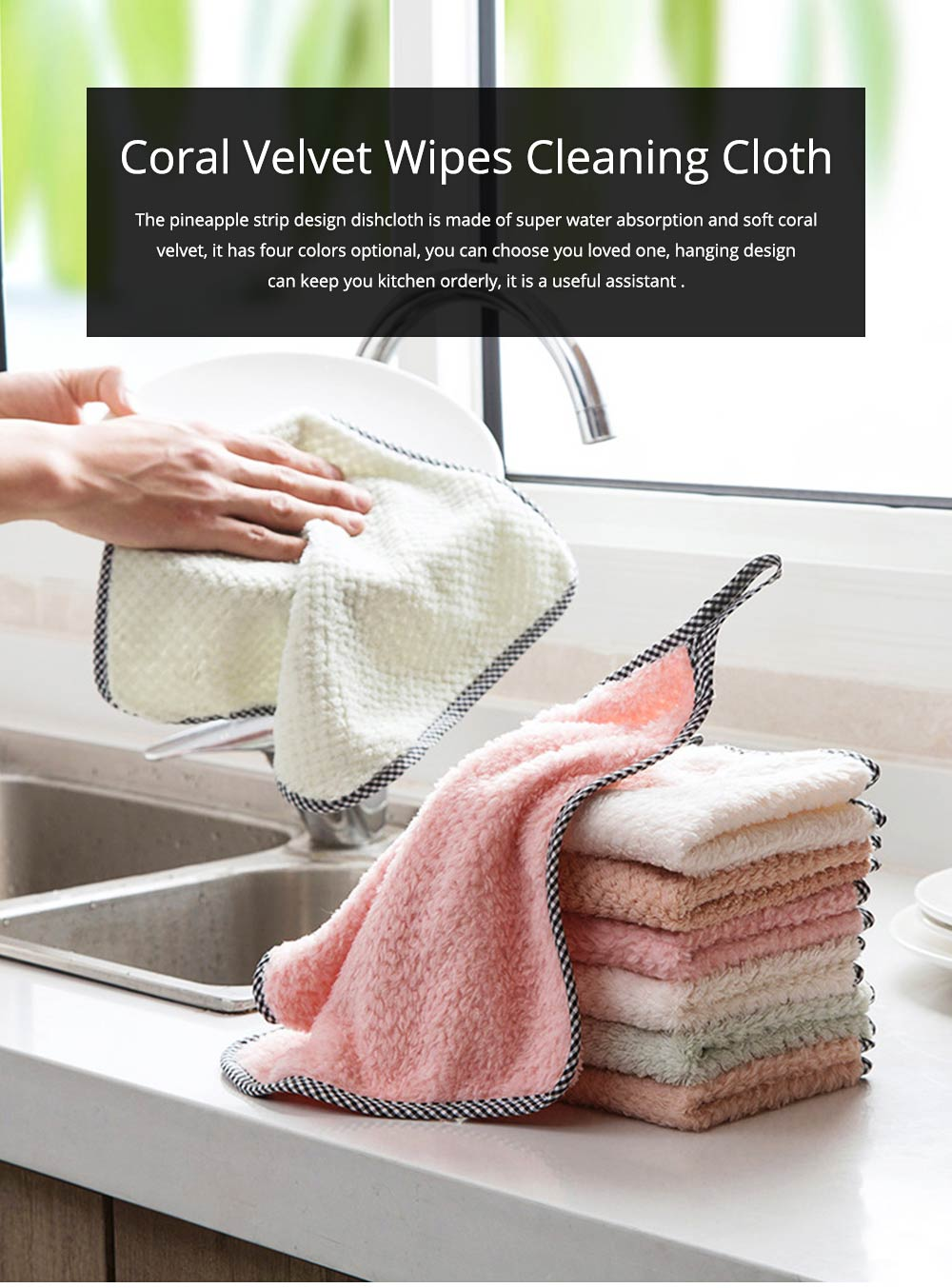 Coral Velvet Wipes Cleaning Cloth Super Absorbent Dish Towels Kitchen Washing Dishcloths 0