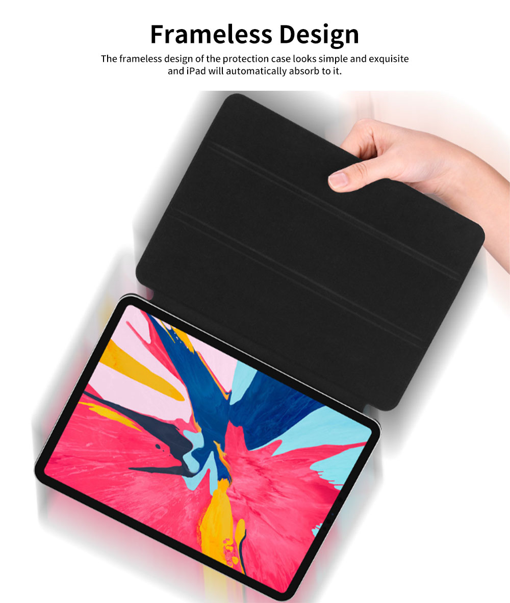 Tablet Protection Case for iPad Pro 11 2018 New iPad 11 Protective Case Tri-fold Intelligent Smart Magnetic Leather Shell Case Lightweight 4