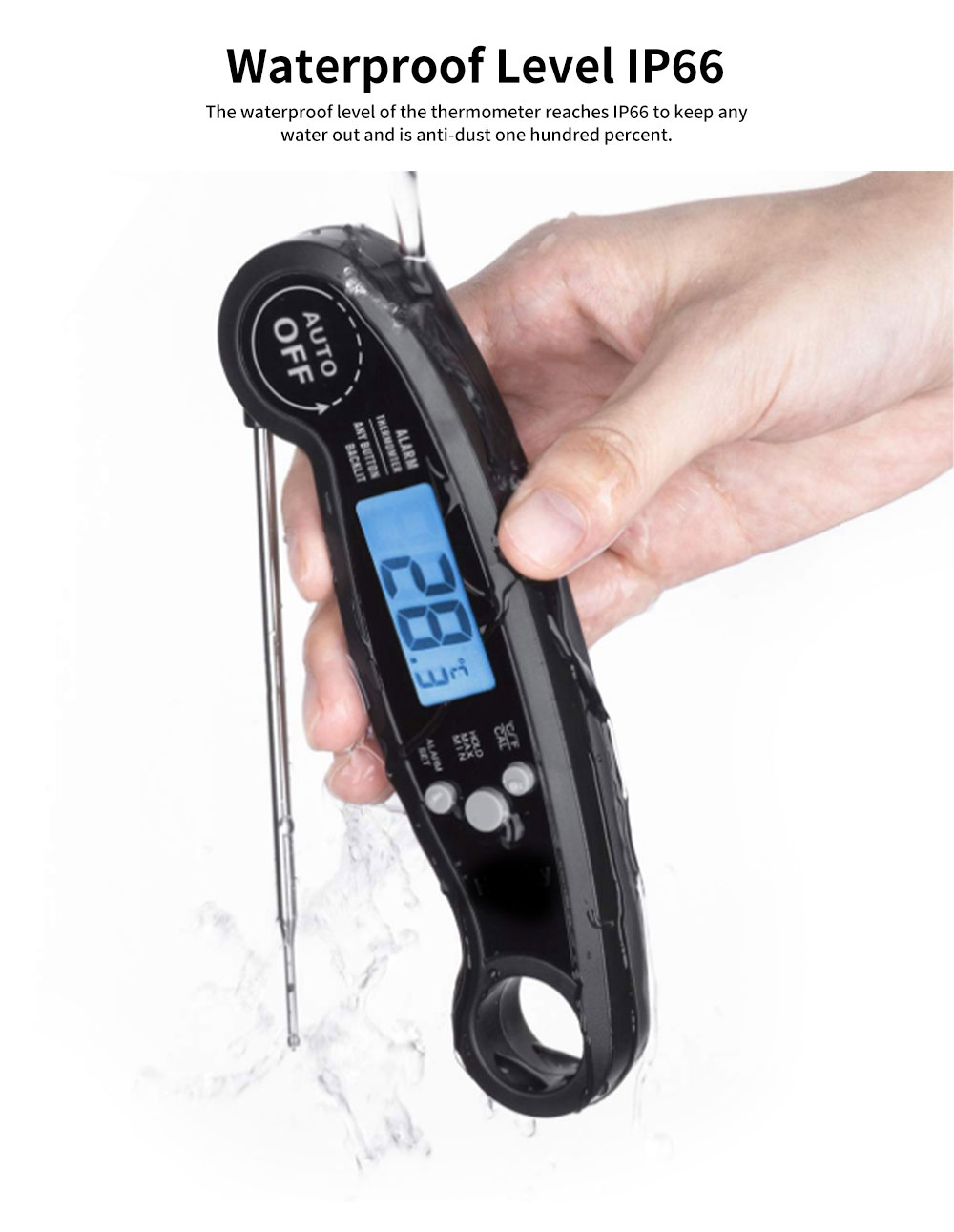 High Temperature Alarm Thermometer for Kitchen Baking, Temperature Measurement Foldable Alarm Thermometer for Milk Water Barbecue Temperature Test Waterproof 4