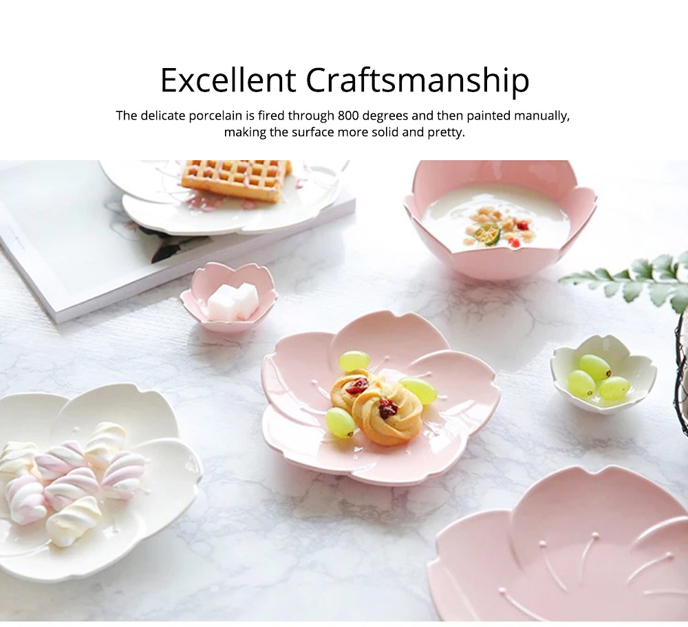 Japanese Style Pink Petal Tableware Western Food Plate Sauce Dish Baking Dishes 7