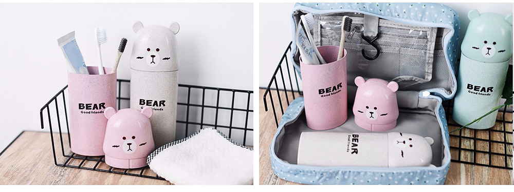 Travel Toothbrush Cup Portable Wash Cup Holder Toothpaste Holder Organizer Eco-friendly Wheat Straw 3