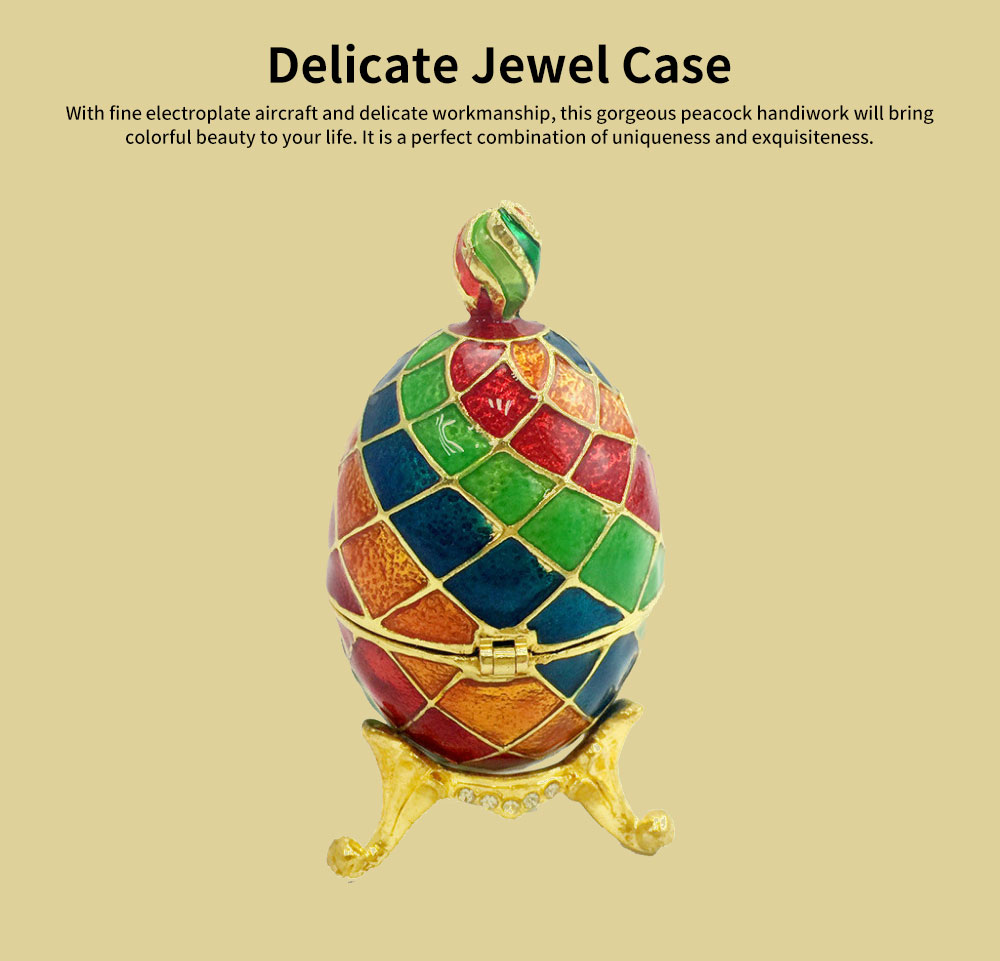Delicate Enamel Colorful Egg Jewel Case Handiwork, Exquisite Alloy Hand-made Decoration Creative Present 0