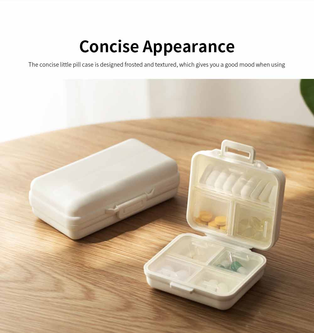 Mini-sized Medicine Container for Outdoor Travelling, Concise Potable White Little Carry-on Pill Case One Week Dose Dispenser 5