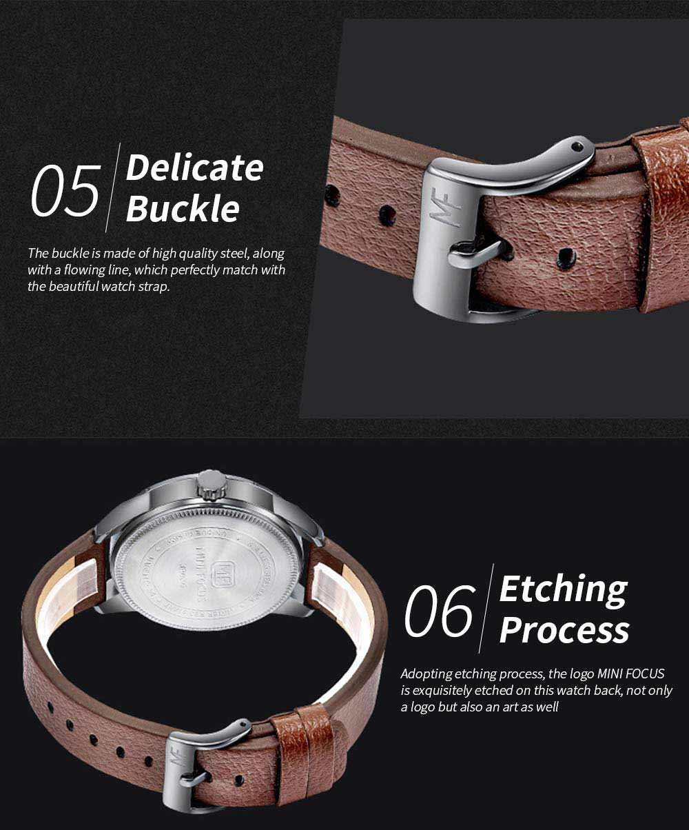 MINI FOCUS Men's Watch with Japanese Movement, High Quality Quartz Watch with Leather Strap Waterproof 30M 3