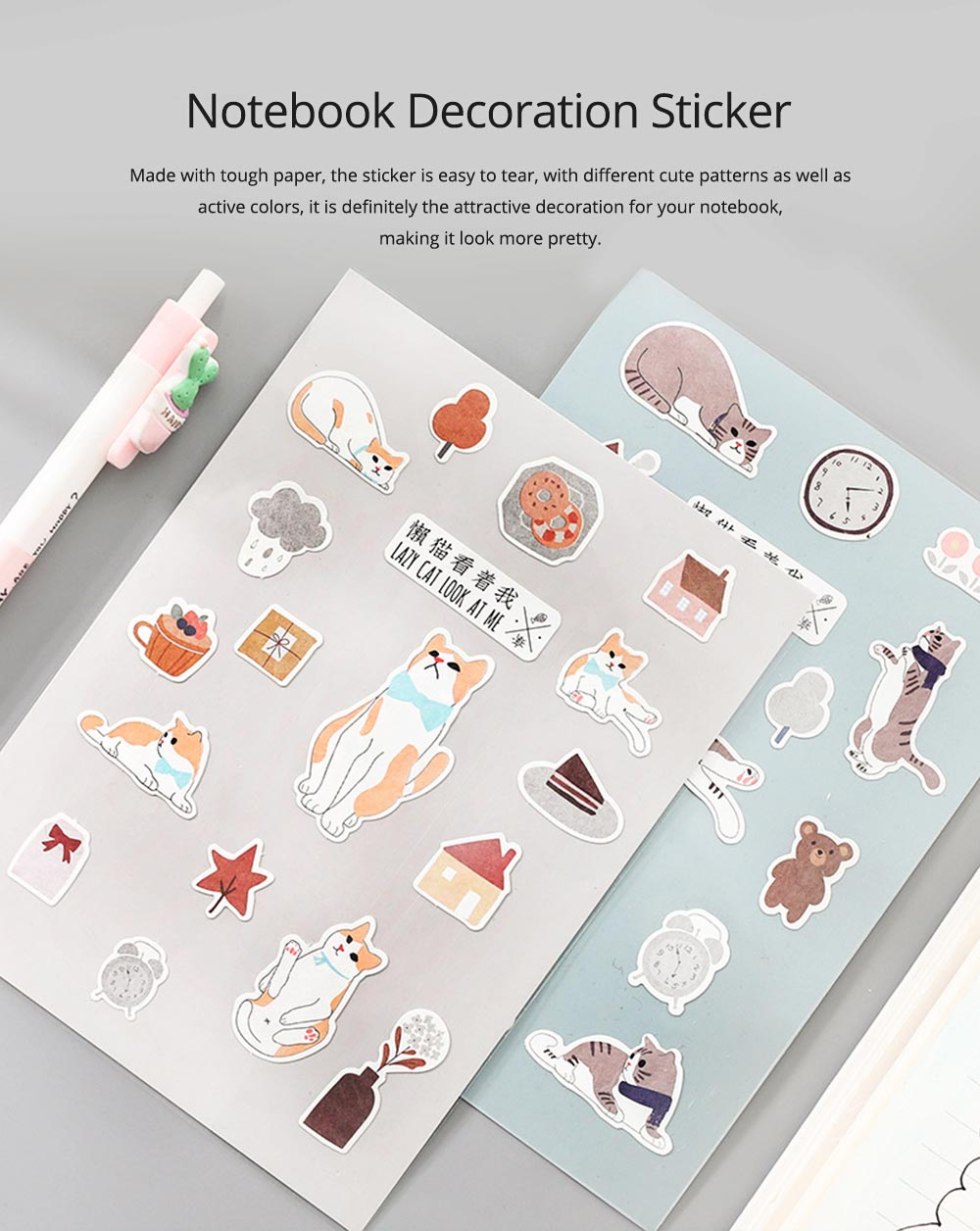 Notebook Decoration Sticker with Cute Different Pattern Bright Active Color Paper Sticker 0