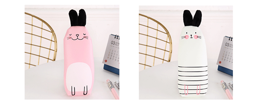 Japanese Style Energetic Simple Cute Pencil Case Rabbit Shape Pen Case with PU Material 8