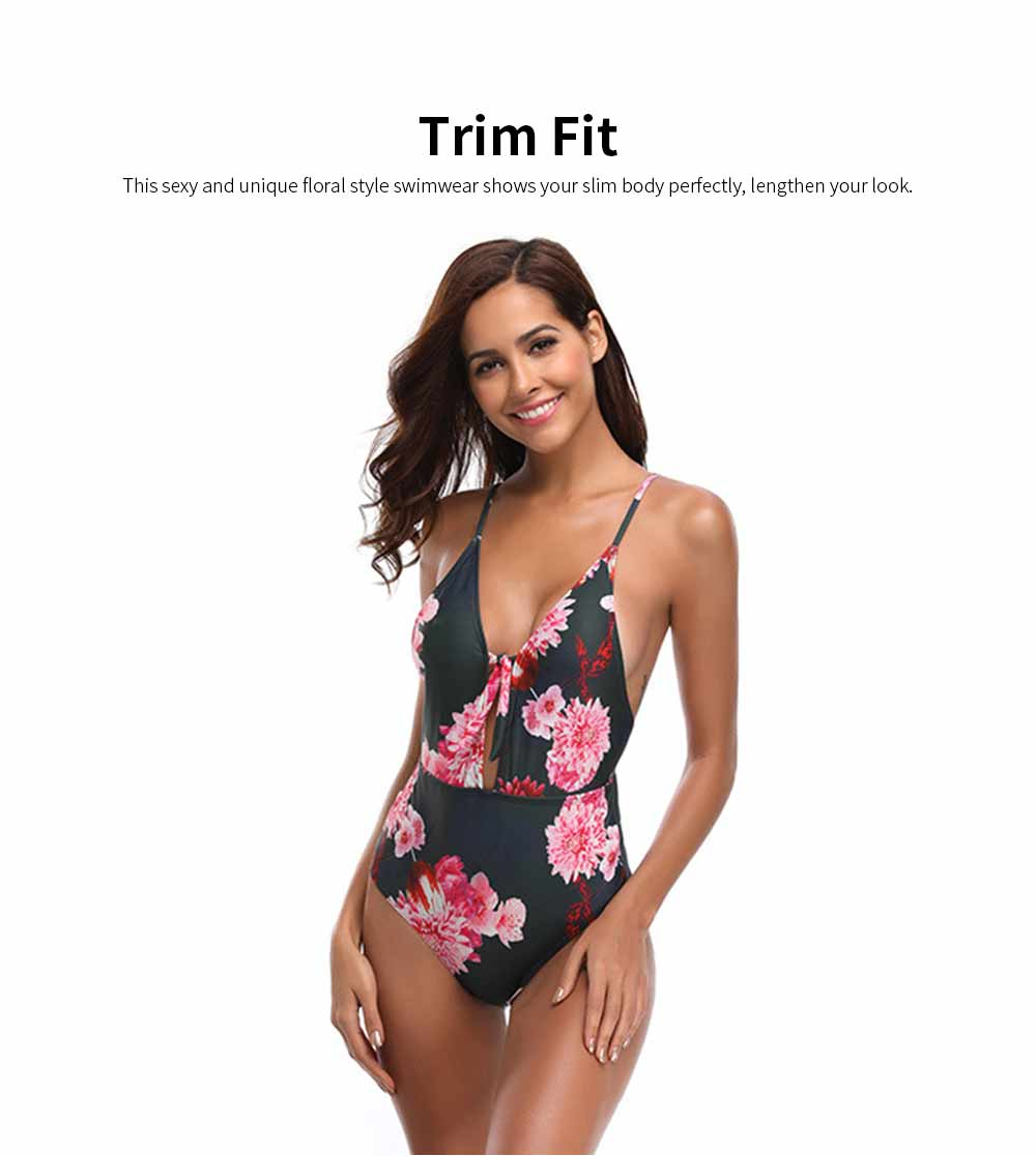 2019 Latest New Style Sexy Backless Swim Wear, Deep V Neck One-piece Slim Fit Bikini Vintage Printing Floral Swimsuit 1