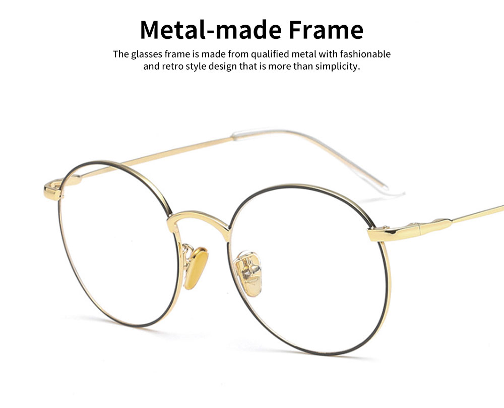 Unisex Retro Style Radiation Protection Glass Frames, Anti-blue Ray Glasses, Plano Lens Glass Frames Computer Round Frame Glasses Shortsighted Goggles 1