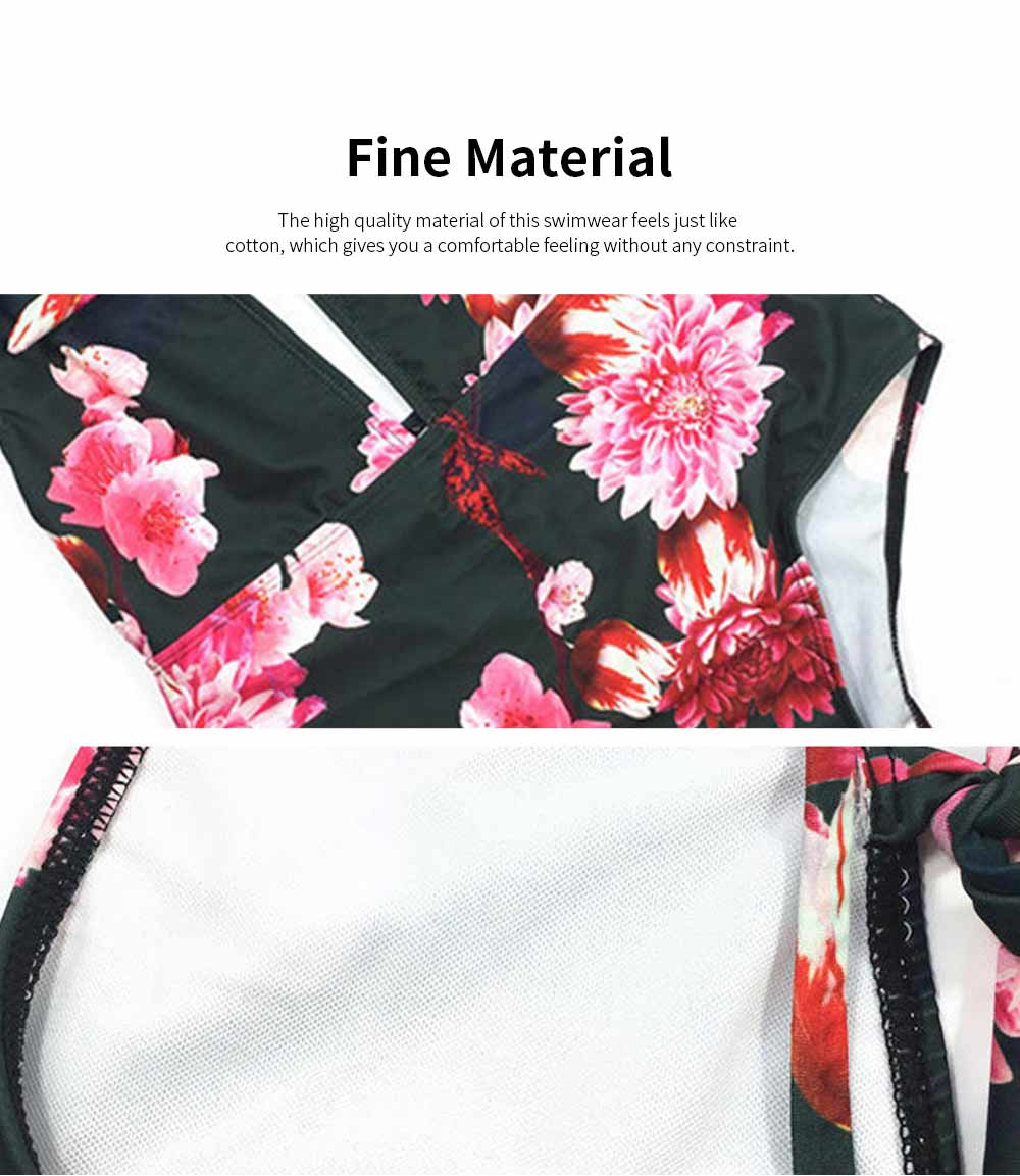 2019 Latest New Style Sexy Backless Swim Wear, Deep V Neck One-piece Slim Fit Bikini Vintage Printing Floral Swimsuit 2
