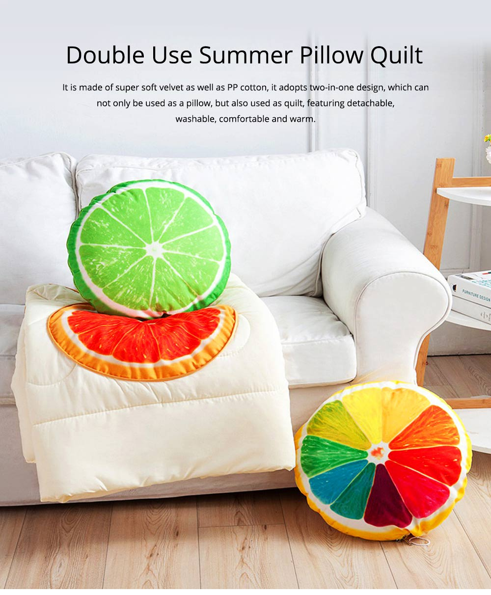 Double Use Summer Pillow Quilt Foldable Stylish Car Pillow Quilt for Office Noon Nap 0