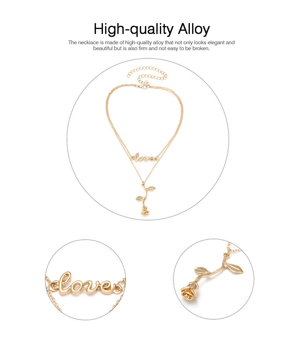 Rose & Letter Alloy Pendant Necklace, Romantic Fashionable LOVE Letter Necklace, Elegant Shape Necklace Gold Polished 1