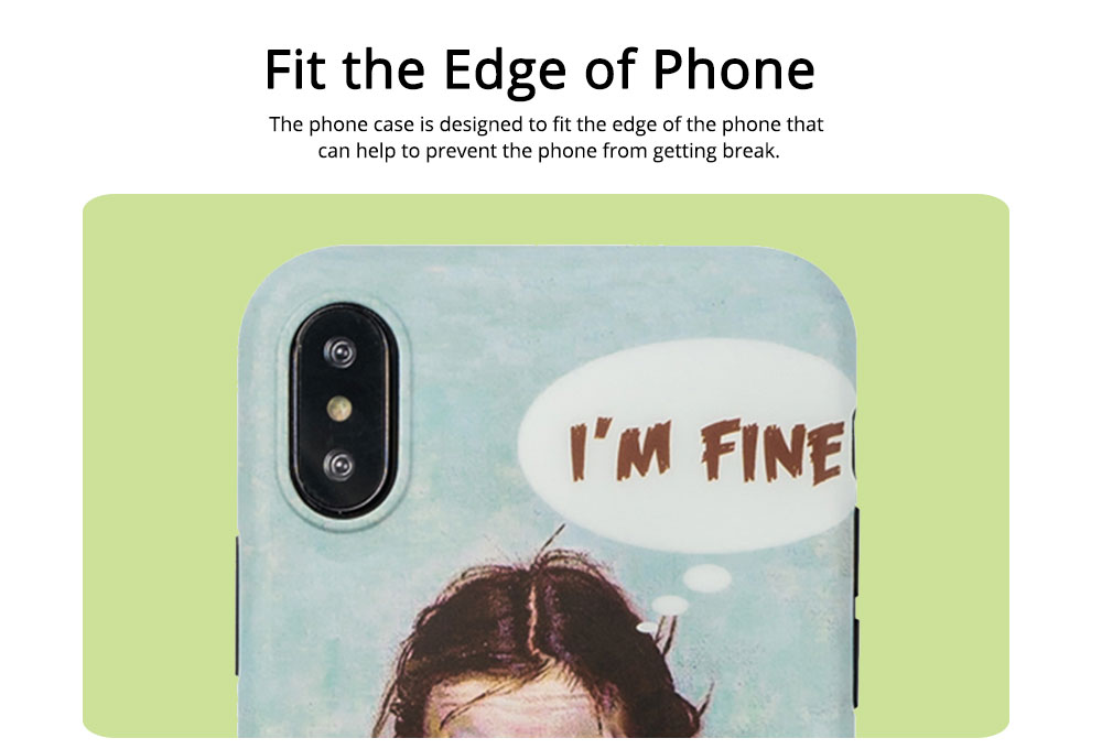French Oil Printing Phone Case TPU Full Enclosed Protective Shell Compatible for iPhone 6 6s 7 8 XS Max XR 7P 8P with Funny Girl Print 3