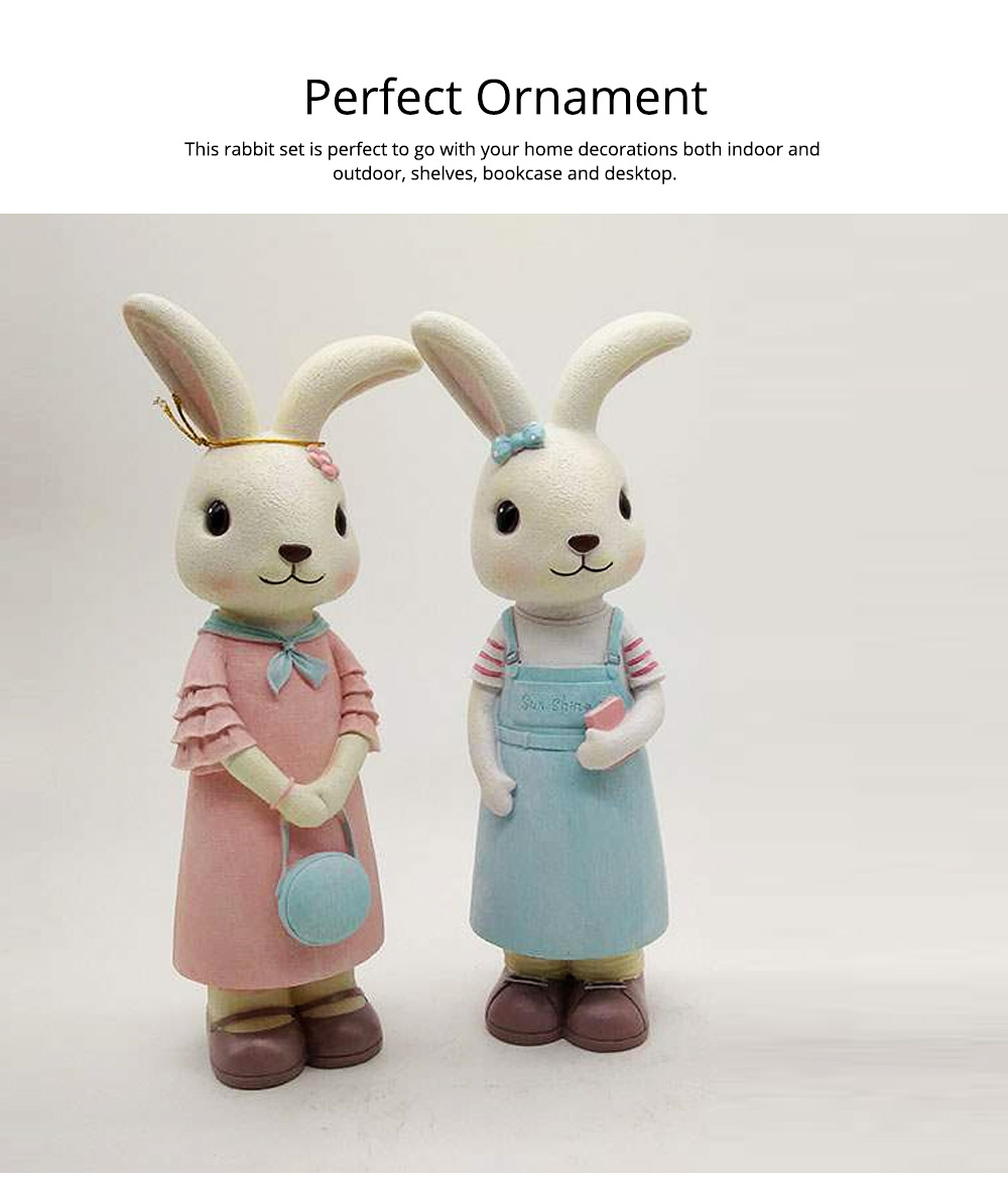 Rabbit Home Decoration Bunny Resin Figurines, Bunny Bosom Friend Hare Decorations for Home and Garden Ornaments 6