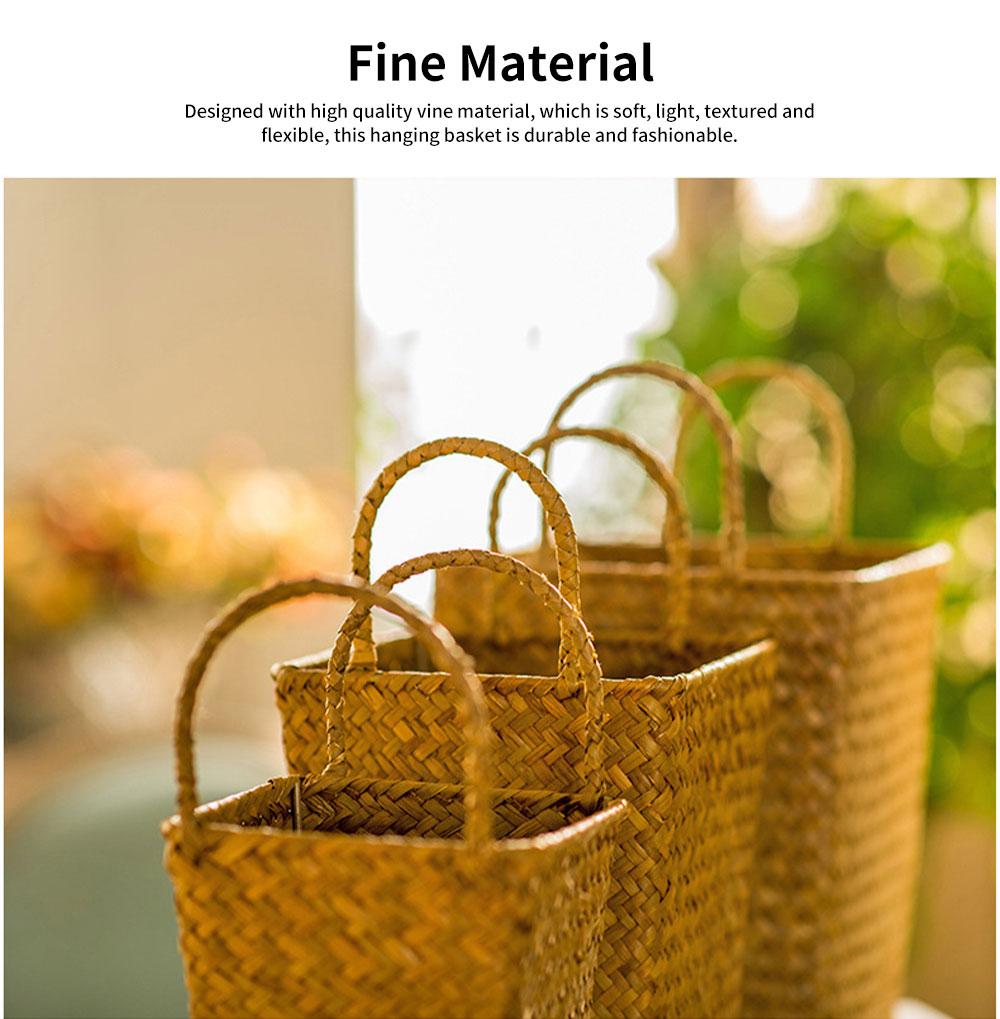Pastoral Style Knitted Hanging Basket Decoration, High Quality Emulational Portable Vine Material Flower Basket 3