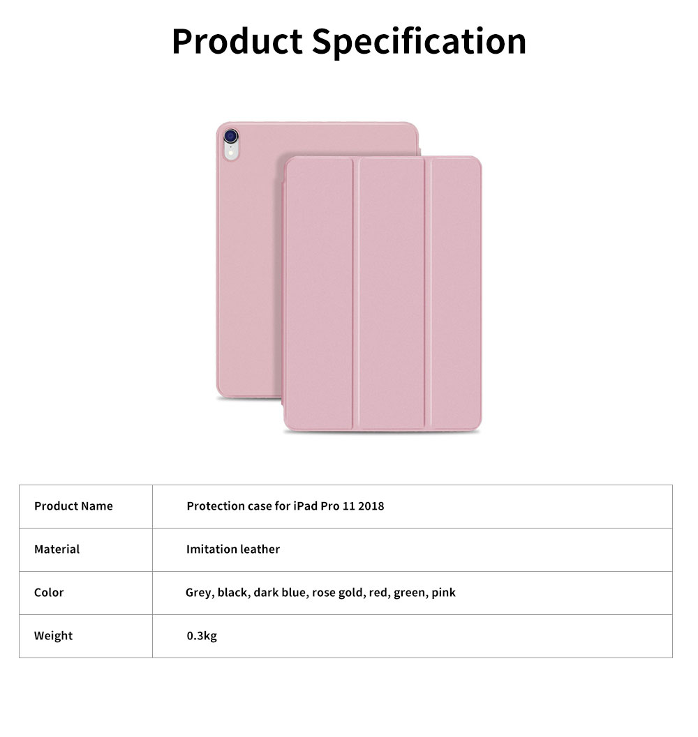Tablet Protection Case for iPad Pro 11 2018 New iPad 11 Protective Case Tri-fold Intelligent Smart Magnetic Leather Shell Case Lightweight 6