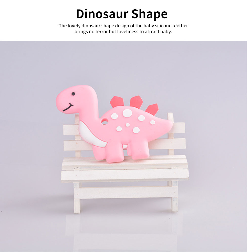 Dinosaur-shape Silicone Baby Teether, BPA Free Safe Baby Teeth Chew Toys for 3 Months to 2 Years Baby Infant Boy Girl Cartoon Baby Teethers 1