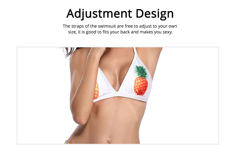 Polyester Swimwear Spandex Material Pineapple Printing Bikini for Women Sexy Bathing Suit Two-pieces Swimsuit for Summer 2