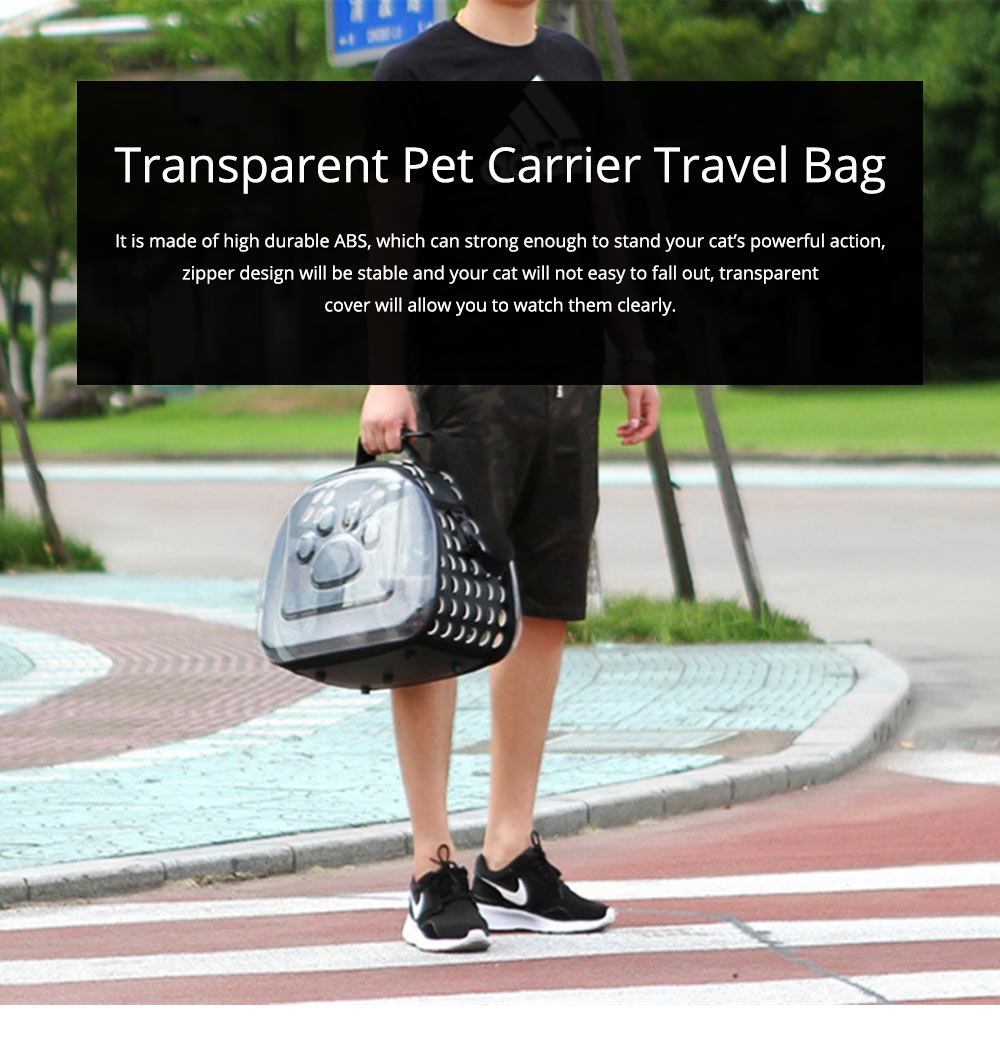 Transparent Pet Carrier Travel Bag, Foldable Portable Bag with Breathable Holes and Zipper Opening 0