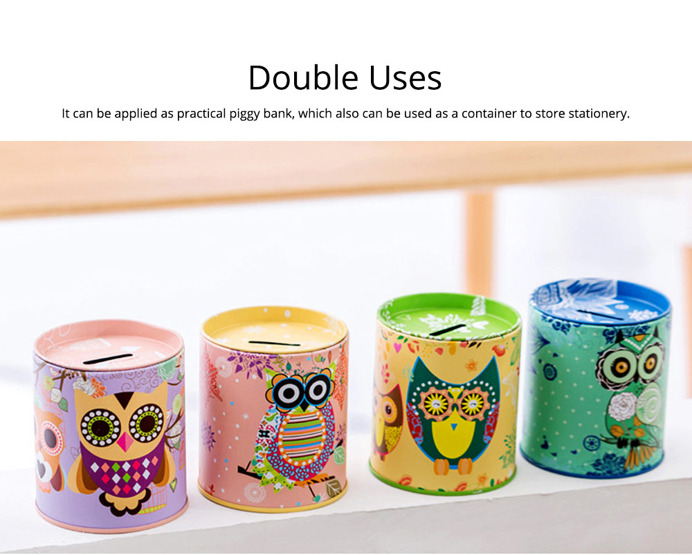 Cartoon Innovative Tinplate Piggy Bank Owl Pattern Pen Holder Stationery Storage Box 5