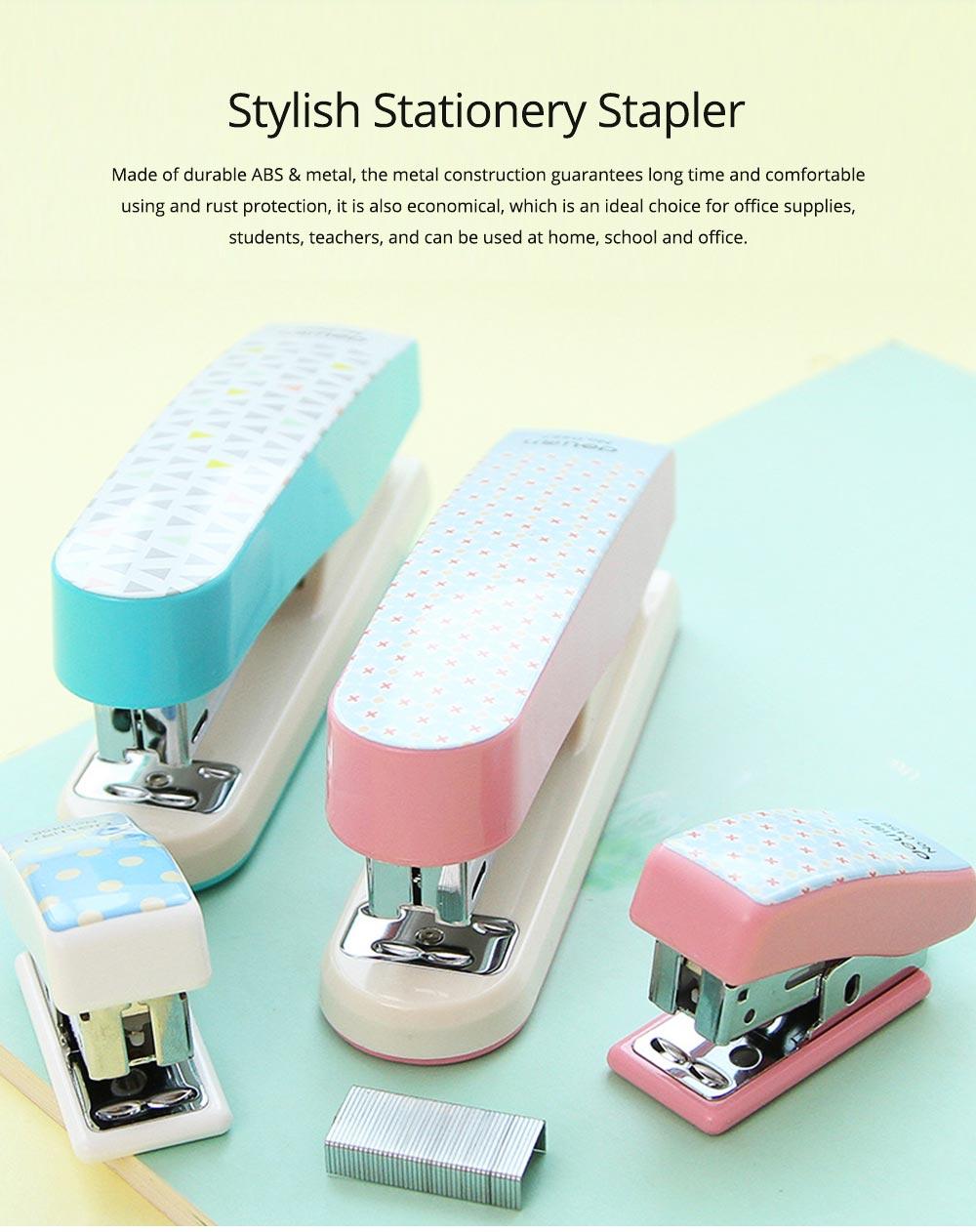 Geometric Mini Student Stapler Colorful Cute Polka Dot Stylish Stationery Stapler 0