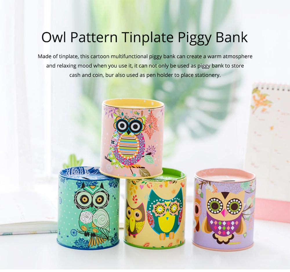 Cartoon Innovative Tinplate Piggy Bank Owl Pattern Pen Holder Stationery Storage Box 0