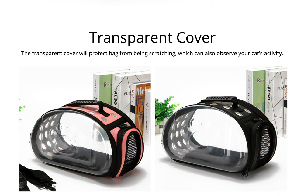 Transparent Pet Carrier Travel Bag, Foldable Portable Bag with Breathable Holes and Zipper Opening 7