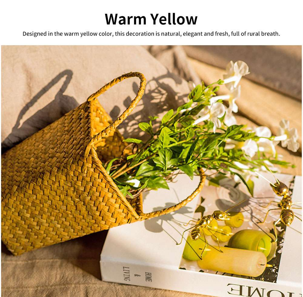 Pastoral Style Knitted Hanging Basket Decoration, High Quality Emulational Portable Vine Material Flower Basket 2