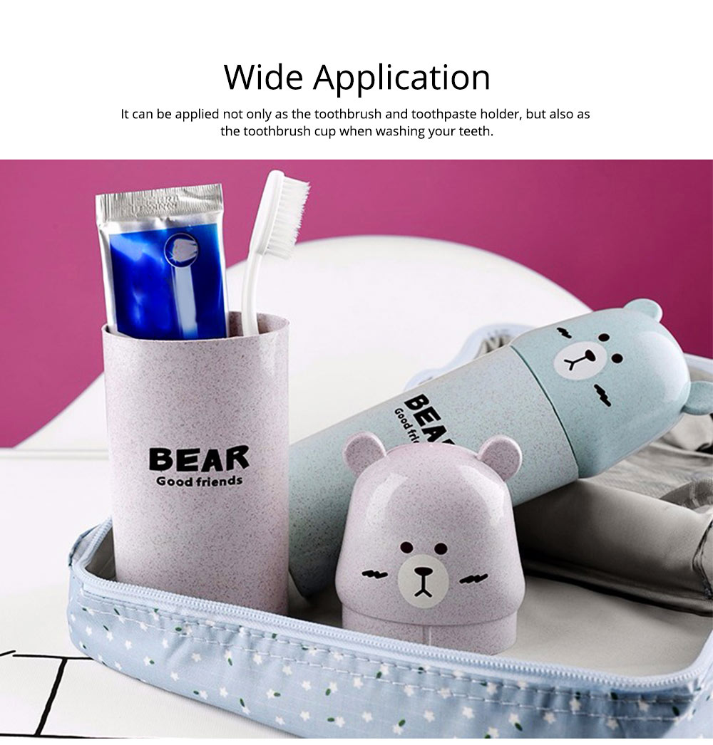 Travel Toothbrush Cup Portable Wash Cup Holder Toothpaste Holder Organizer Eco-friendly Wheat Straw 6