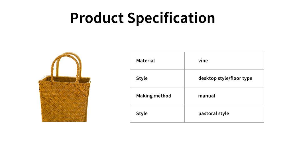 Pastoral Style Knitted Hanging Basket Decoration, High Quality Emulational Portable Vine Material Flower Basket 5