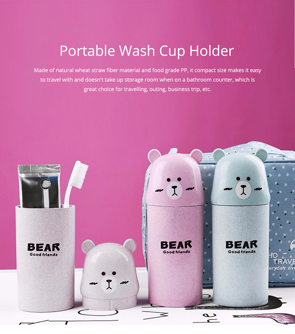 Travel Toothbrush Cup Portable Wash Cup Holder Toothpaste Holder Organizer Eco-friendly Wheat Straw 0