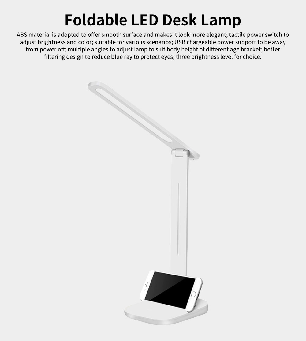 Foldable LED Desk Lamp for Office Work Dormitory,  Eye Protection Rechargeable USB Table Lamp with Phone Stand Adjustable Table Lamp Light 0