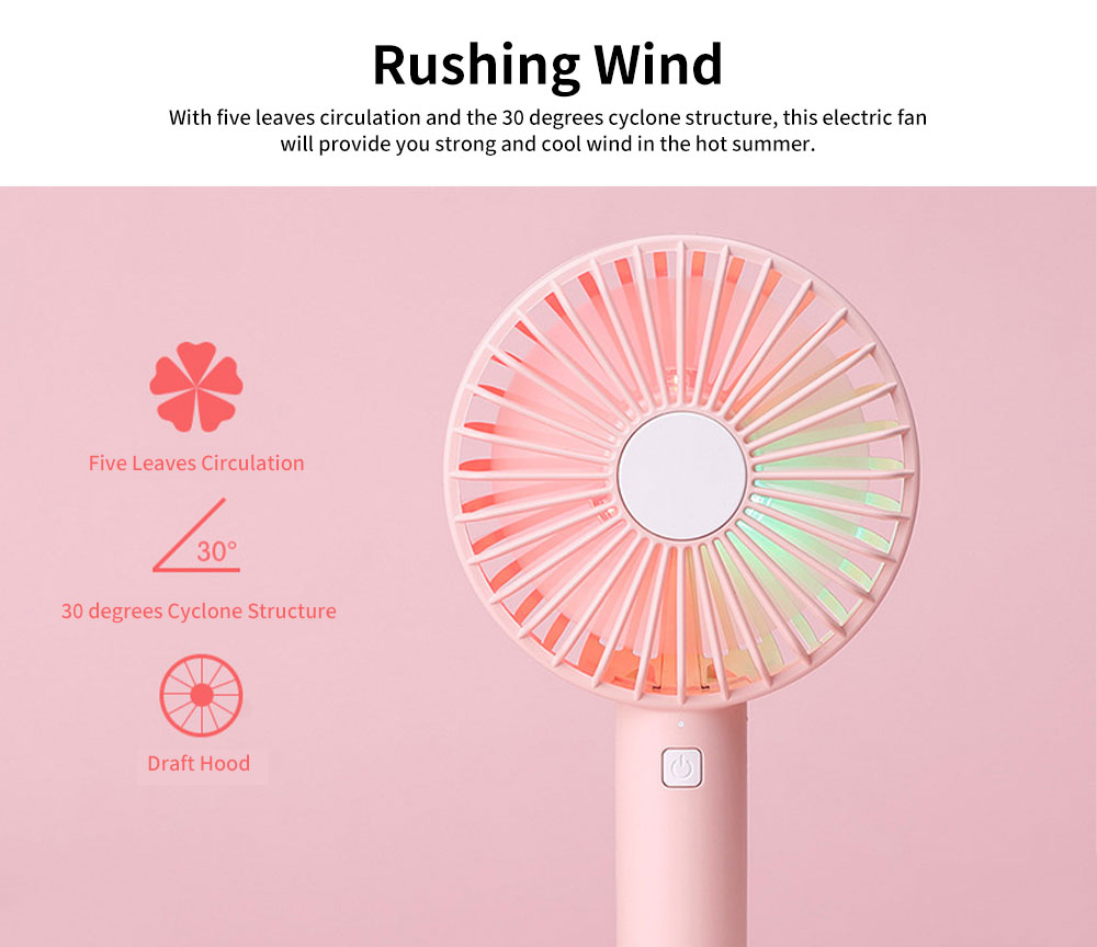 Hand-held Mini-sized Donut Electric Fan with LED Colorful Night Light, Concise ABS and Silica Gel USB Charging Air Fan 2