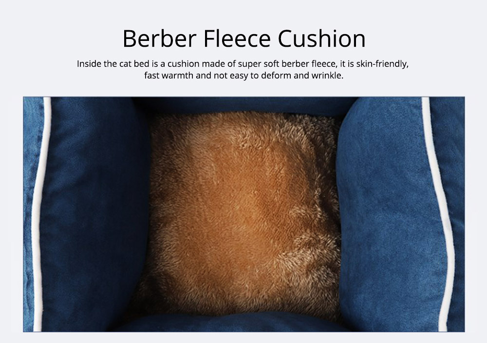 Cat Warm Deep Sleeping Bed Soft Sofa Cat Nest Lounge with Suede and Berber Fleece 2