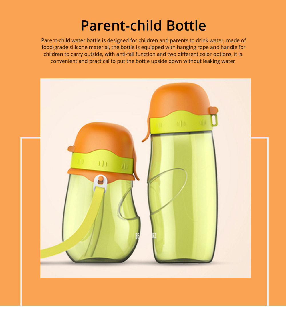 Parent-child Bottle Silicone Material for Baby Parent Learn Drink Water-tight Glass Drop-resistance Cup 0