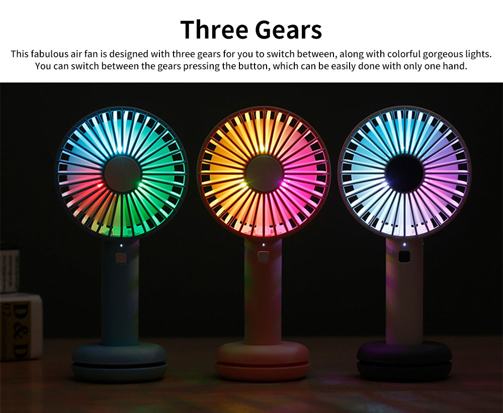 Hand-held Mini-sized Donut Electric Fan with LED Colorful Night Light, Concise ABS and Silica Gel USB Charging Air Fan 4