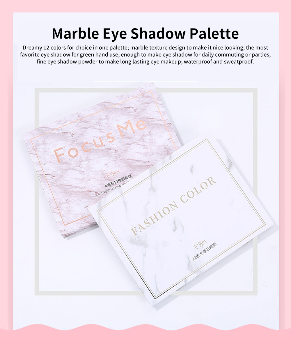 Marble Eye Shadow Palettes Classic 12 Color Daily Eye Shadow Matt Color Pearly Lustre Earth Color eyeshadow for Beauty Makeup 0