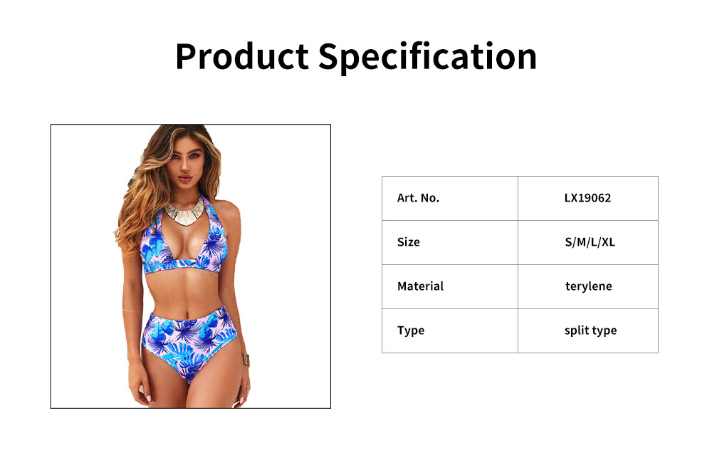 2019 Printing Design Sexy Bikini in Vogue, Noble Split Type Off Shoulder and High-waisted Swimwear 5