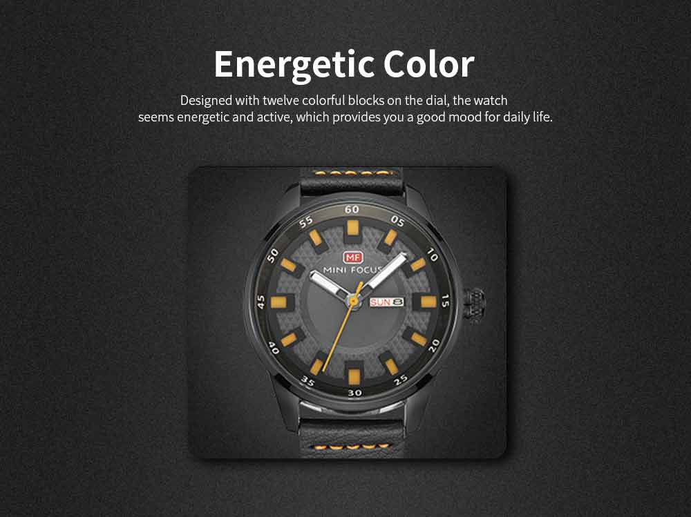 Wrist Watch for Men, Hard-wearing Waterproof Luminous Quartz Watch with Japanese Movement Breathable Genuine Leather Strap 4