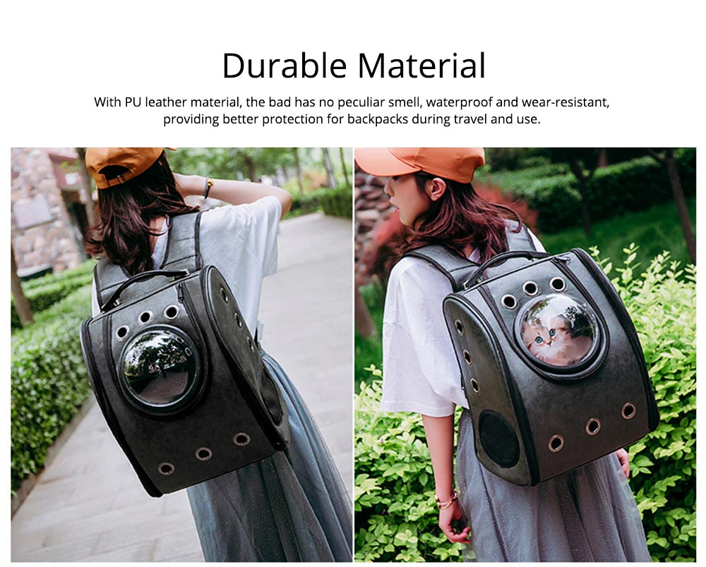 Pet Carrier Backpack 2-Sided Entry PU Leather Space Capsule Waterproof Breathable for Cat Small Dog 3