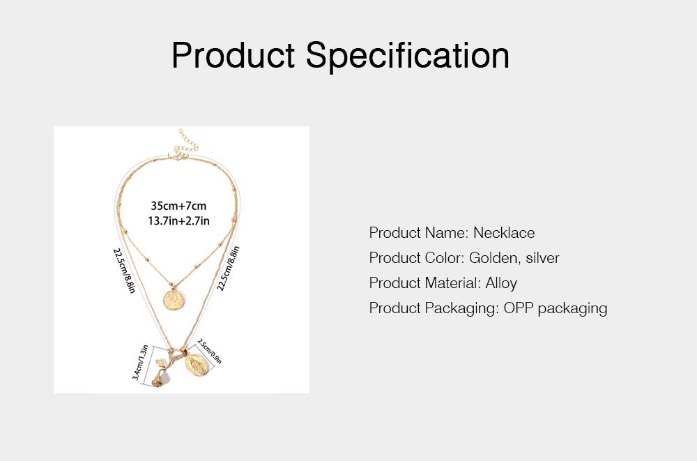 Women Alloy Pendant Necklace, Multi-layer Retro Rose & Jesus Pendant Accessory Necklace Beauty Accessory Gold Silver 2 Colors 6