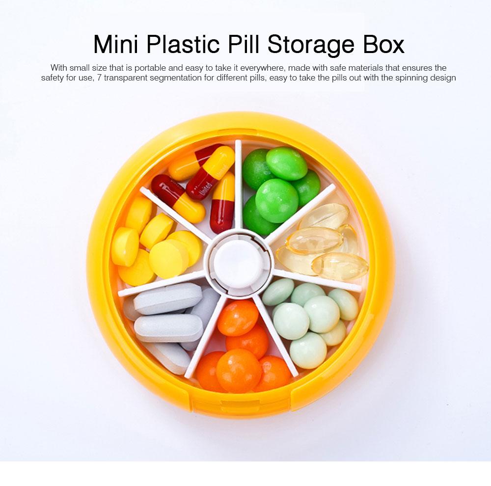 Rotate Button Mini Pill Box Plastic 7 Segmentation Pill Organizer Box for Pills & Tablets 0