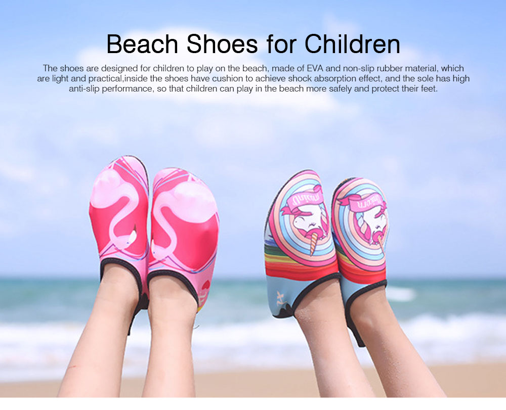 Kids EVA Rubber Soft Swimming Shoes for Swim Diving Wade Breathable Light Anti-slip Beachwear Shoes for Boy Girl 0