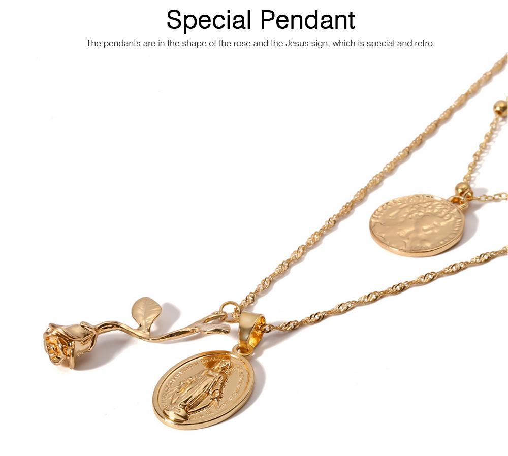 Women Alloy Pendant Necklace, Multi-layer Retro Rose & Jesus Pendant Accessory Necklace Beauty Accessory Gold Silver 2 Colors 2