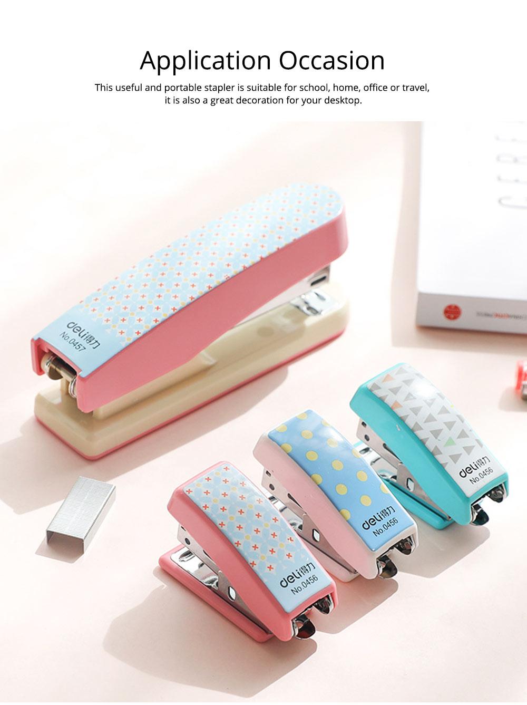 Geometric Mini Student Stapler Colorful Cute Polka Dot Stylish Stationery Stapler 6