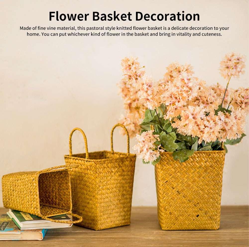 Pastoral Style Knitted Hanging Basket Decoration, High Quality Emulational Portable Vine Material Flower Basket 0