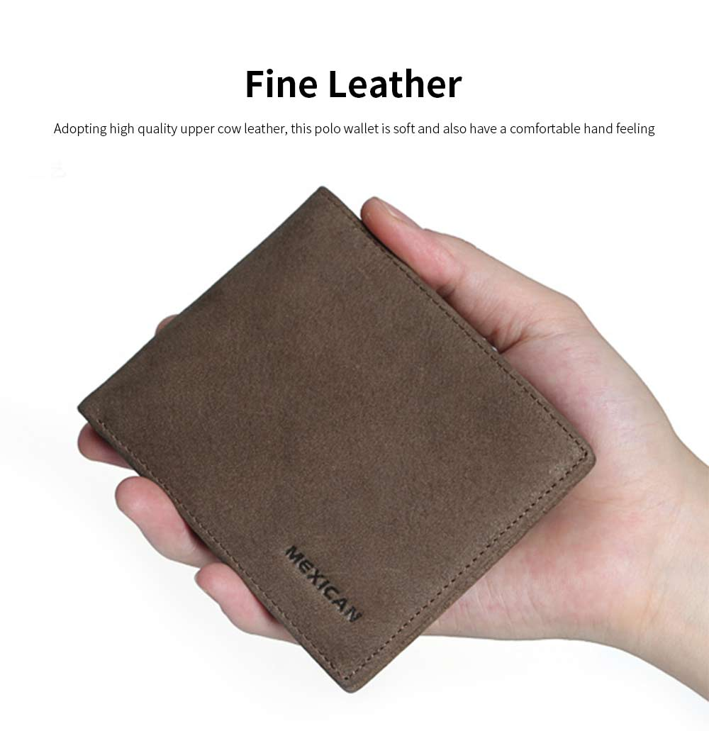 Mexican Polo Upper Cow Leather Wallet for Men, Fashionable Ultra Thin Vintage Textured Wallet High Quality 2