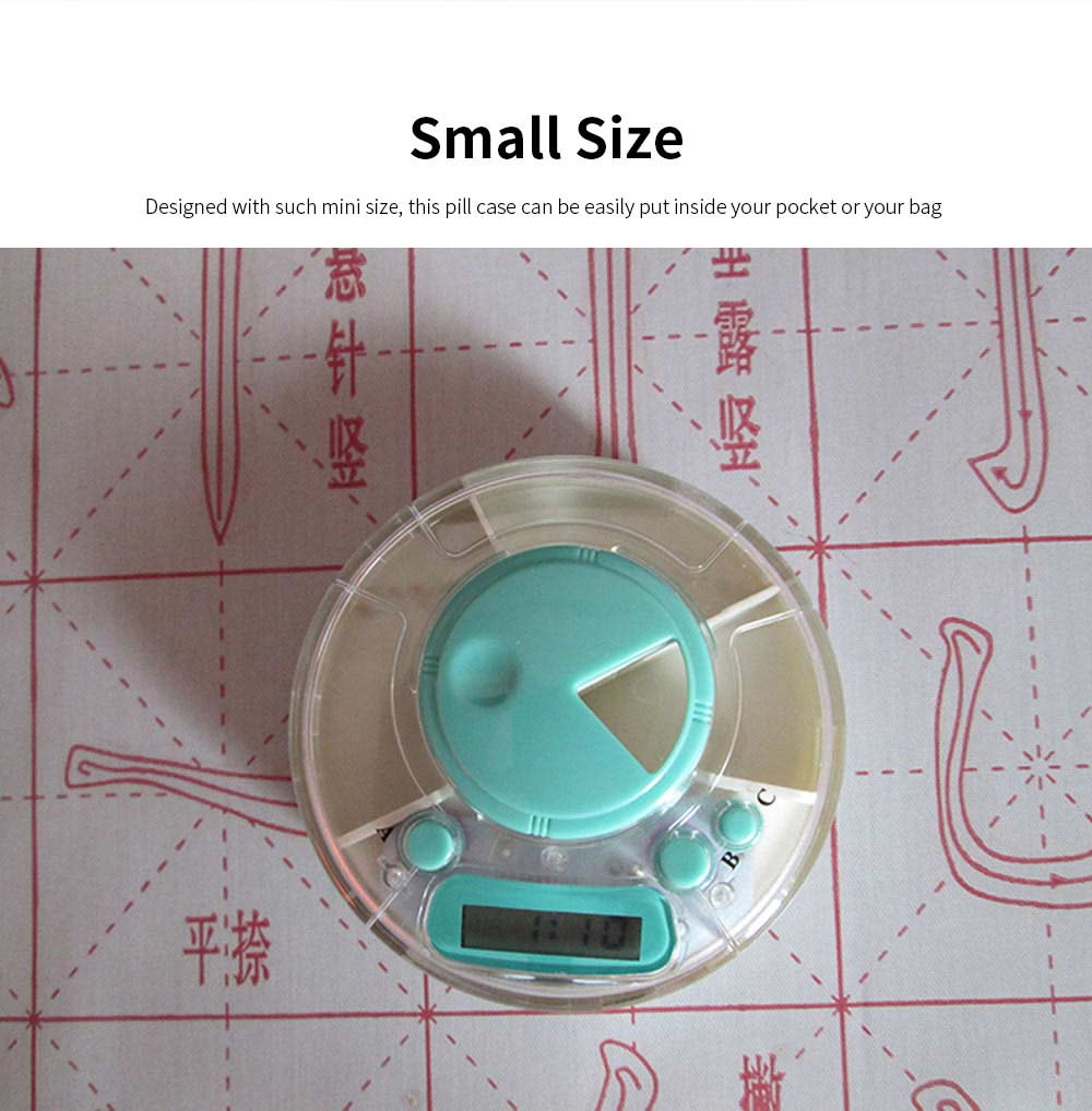 Portable Electric Pill Case for One Week, Mini-sized PP Material Medicine Storage Reminder 2