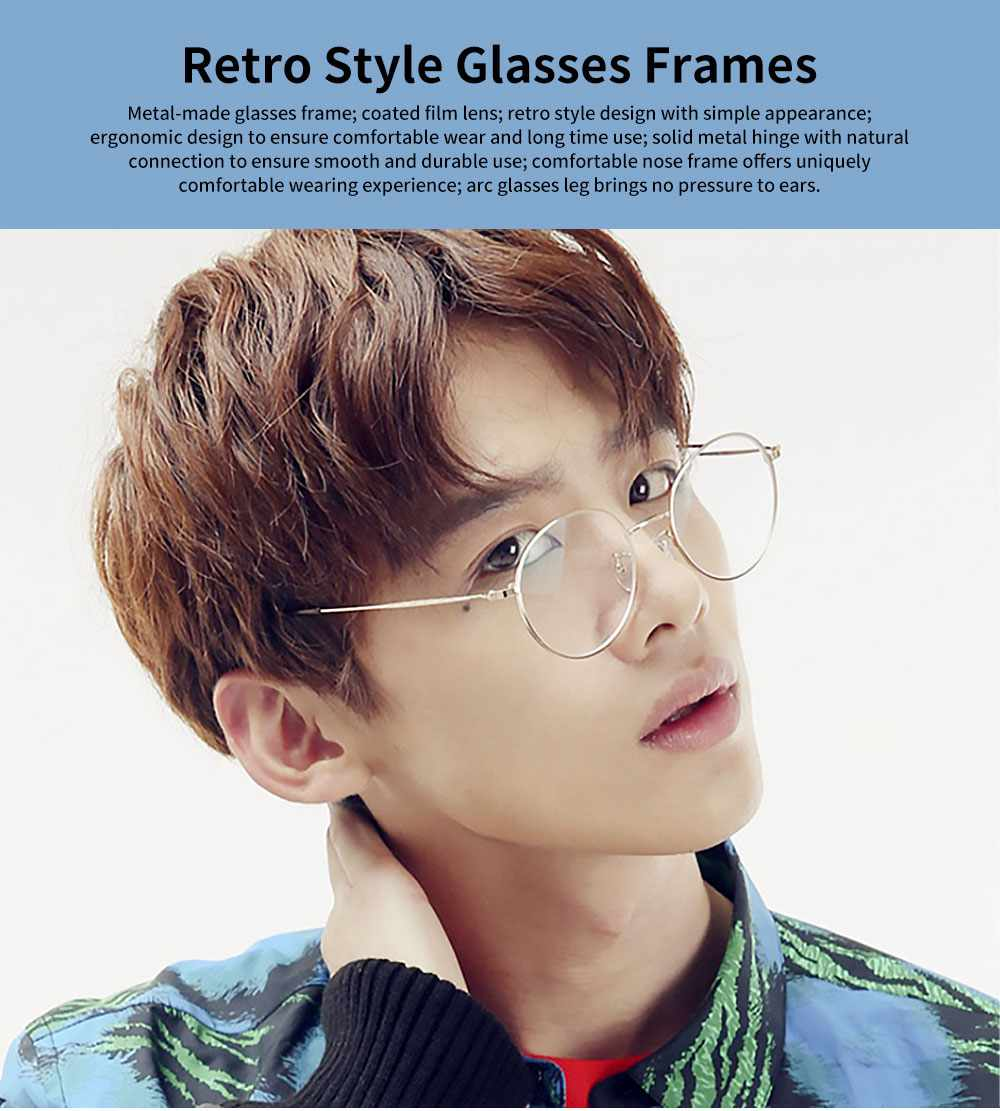 Unisex Retro Style Radiation Protection Glass Frames, Anti-blue Ray Glasses, Plano Lens Glass Frames Computer Round Frame Glasses Shortsighted Goggles 0
